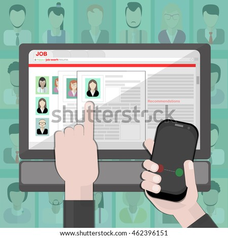 Find Resume And Hiring. Finding Staff On Internet. Choose Candidate And  Analyze Cv.  Find Resume