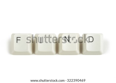 find text from scattered keyboard keys isolated on white background