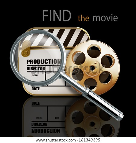 FIND the movie. Golden Clap board and Film roll. High resolution. 3D image  - stock photo