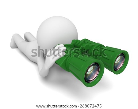 Find the opportunity/A 3d people searching with the binoculars. 3d image. Isolated white background