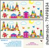 Find the ten differences between the two pictures - toy town visual puzzle ( for EPS format see image 79498831 ) - stock photo