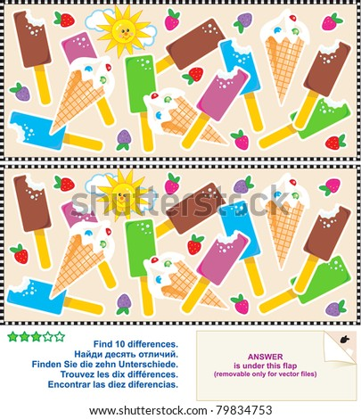 Find the ten differences between the two pictures - yummy ice cream bars and cones ( for vector EPS see image 79834756 ) - stock photo