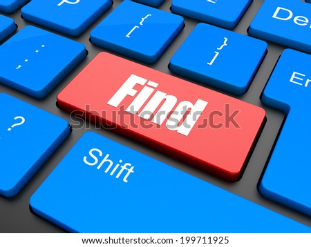 find word on keyboard key, notebook computer button - stock photo