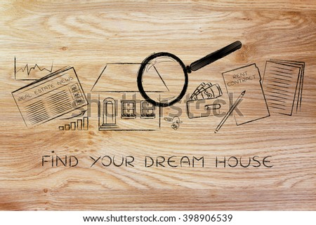find your dream house: magnifying glass analyzing a house, with sector newspaper, stats, keys, wallet and rent contract - stock photo