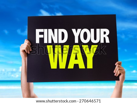 Find Your Way card with beach background - stock photo