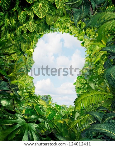 Find your way out from the dark danger of the jungle of uncertainty and confusion with rainforest plants in the shape of a human head leading to an open sky of freedom.