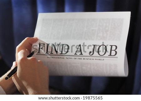 "finding a job on a newspaper. searching. Note: ""find a Job"" is not real newspaper"