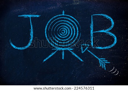 finding a role, job with target and arrow - stock photo