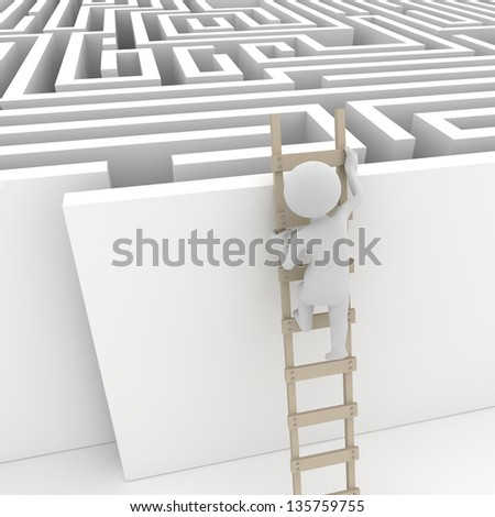Finding a solution , computer generated image. 3d render. - stock photo
