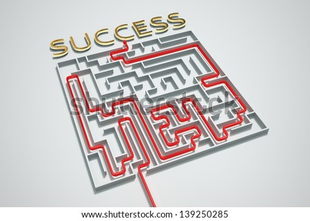 Finding a way to success in a complicated maze. - stock photo