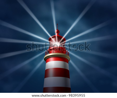 Finding answers and business solutions by searching in all directions putting light on new paths to opportunity and success with a lighthouse searchlight symbol on a illuminating the night sky. - stock photo