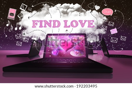 Finding Love with Online Internet Dating on Digital Devices - stock photo