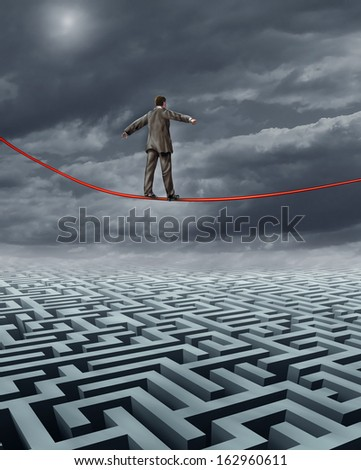 Finding New Solutions business challenges and a symbol for finding answers to financial problems with skilled leadership from as businessman walking on a tightrope over a maze searching for success. - stock photo