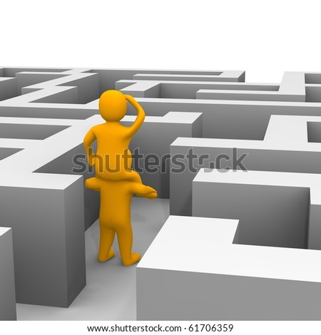 Finding path through labyrinth. 3d rendered illustration. - stock photo