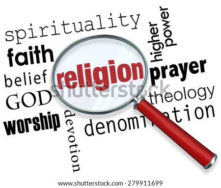 Finding Religion word with magnifying glass with related terms like spirituality, faith, belief, god, worship, devotion and prayer - stock photo