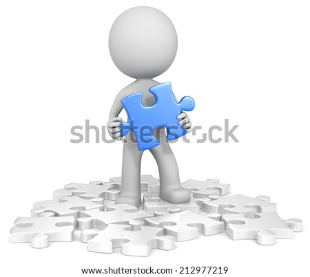 Finding the solution. The dude finding blue puzzle piece. Random white. - stock photo