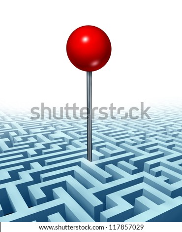 Finding your goal in life and in business with a concept of a red location direction pin in the middle of a three dimensional maze or labyrinth as a symbol of searching for success on white. - stock photo