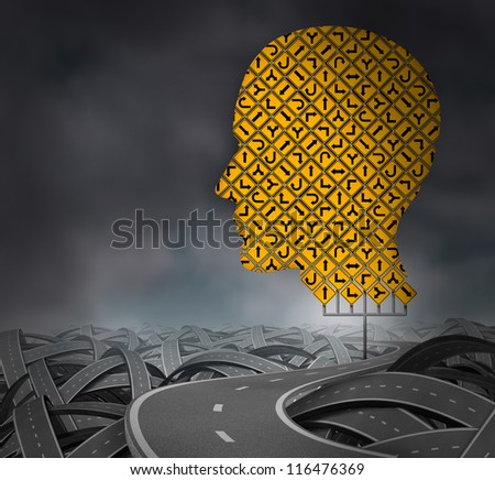 Finding your way in a challenging environment as a business career choice or health care decisions with a group of yellow road signs in the shape of a human head with confused highways on a dark sky. - stock photo