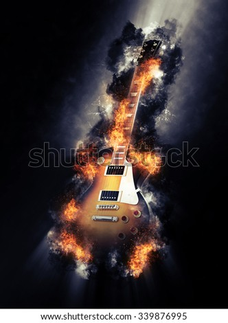 Fine art image of a burning electric guitar engulfed in fiery orange flames in a smoky textured atmosphere. 3d Rendering. - stock photo