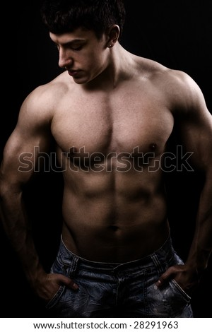 Fine art image of muscular sexy shirtless young man - stock photo