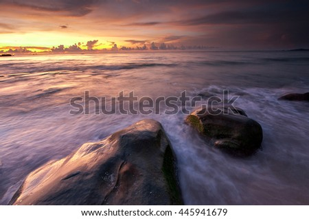 fine art long expose sunset photograph. image contain soft focus and blur