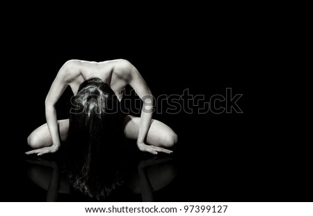 Fine Art of a woman , portrait on black background - stock photo