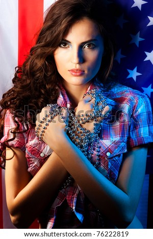 Fine art photo of a beautiful woman background Whits American Flag Girl - stock photo