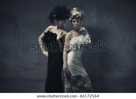 Fine art photo of a two fashion ladies - stock photo