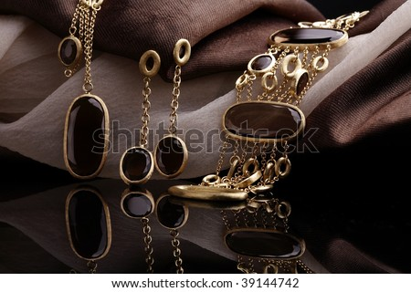 Fine art photo of exclusive jewelry set - stock photo