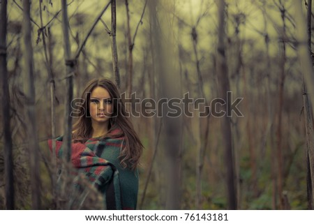 Fine art photo.Young  woman  in thickets - stock photo