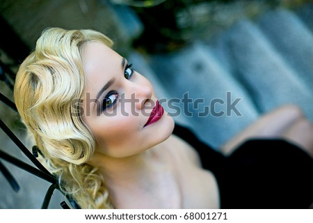 Fine art portrait of a beautiful lady - stock photo