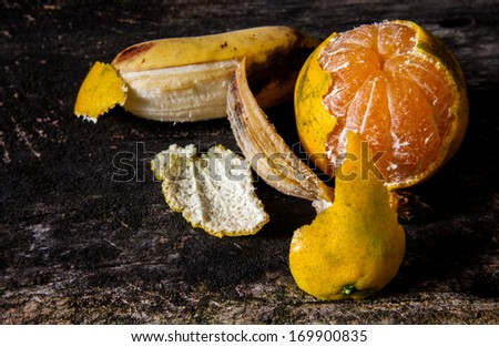 Fine art still life with fruit,  orange and banana