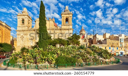 Fine baroque architechture St. Lawrence church in Birgu, Malta in the evening under bright sun - stock photo
