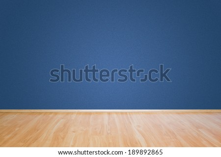 Fine blue wall texture and wooden floor