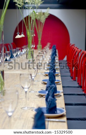 Fine Crystal Table Setting at a Restaurant.with Chinese features - stock photo
