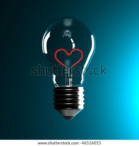 fine 3d classic bulb with red heart love inside - stock photo