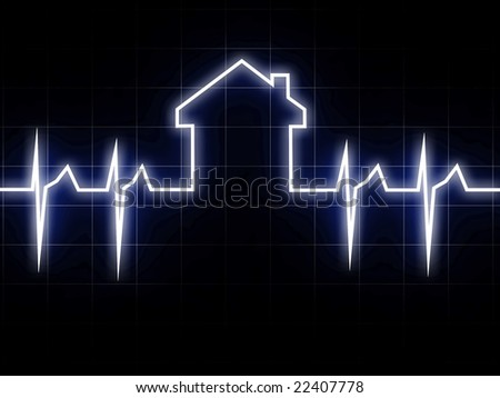 fine 3d image of abstract cardio house background - stock photo