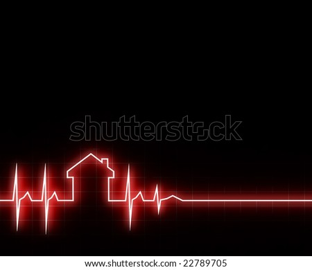 fine 3d image of cardio house stat with space for text - stock photo