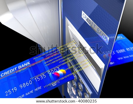 fine 3d image of classic cash machine, electronic money background - stock photo