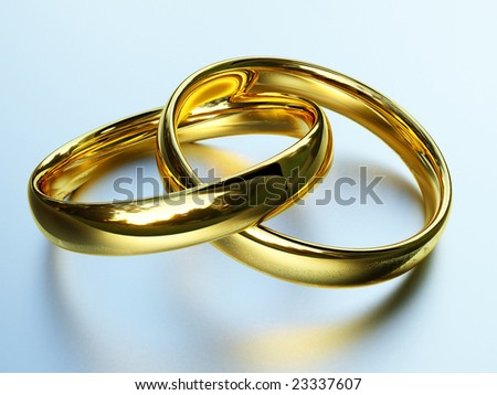 fine 3d image of classic gold rings background - stock photo