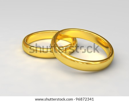 fine 3d image of classic golden wedding rings - stock photo