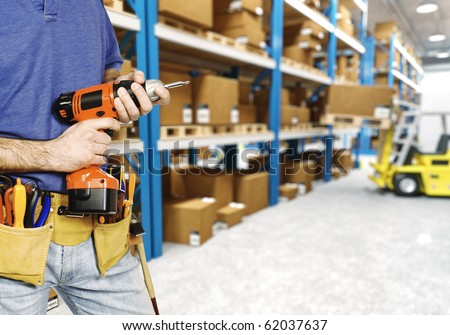 fine 3d image of classic warehouse and forklift in action - stock photo