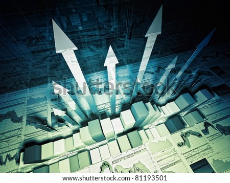 fine 3d image of growing arrows and business chart - stock photo