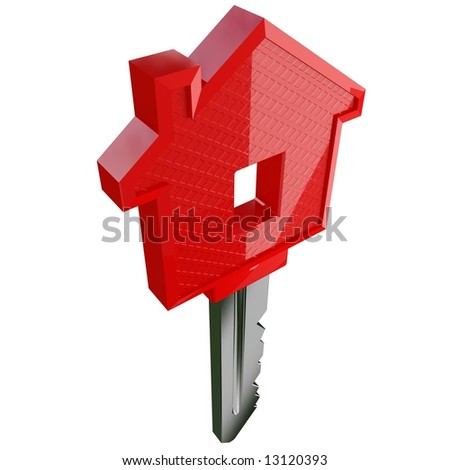 fine 3d image of isolated key of dreams house - stock photo