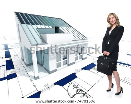 fine 3d image of modern house on blueprint background and standing woman - stock photo