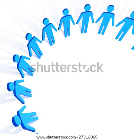 fine 3d image of people in circle business background - stock photo
