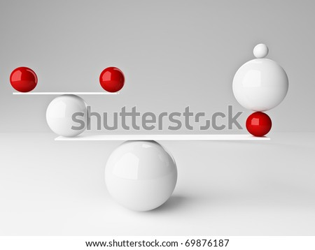 fine 3d image of red and white balanced balls background