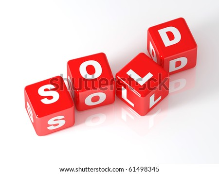 fine 3d image of red cube with sold text