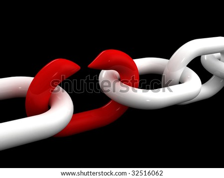 fine 3d image of white chain and weak red point - stock photo