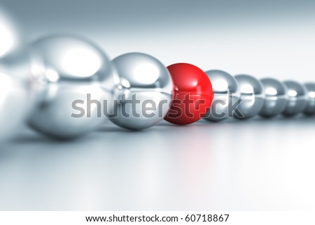 fine 3d rendering of red and gray balls with dof - stock photo